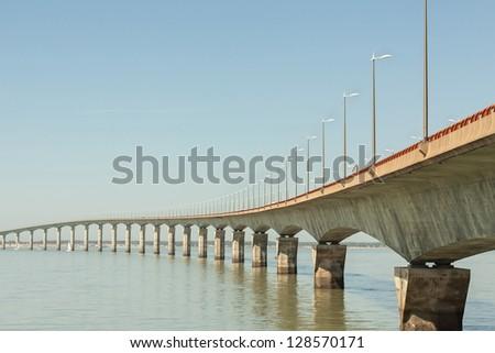 Bridge to Ile de Re, France - stock photo