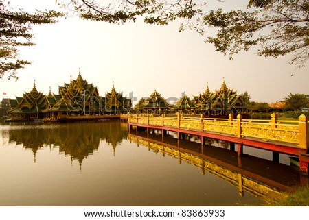 bridge to the Pavilloin, Thailand - stock photo