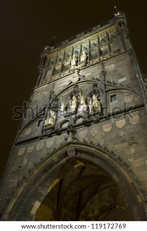 Bridge Tower  at one end of Charles bridge in Prague, Czech Republic - stock photo