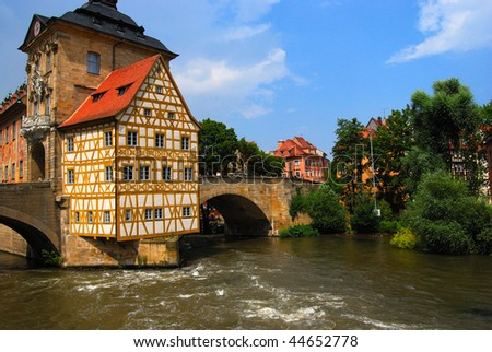 Bridge town hall in Bamberg, Bavaria, Germany - stock photo