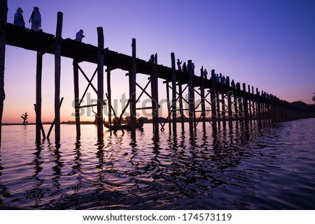 Bridge U-Bein teak  is the longest. Sunset with silhouettes of people unrecognizable