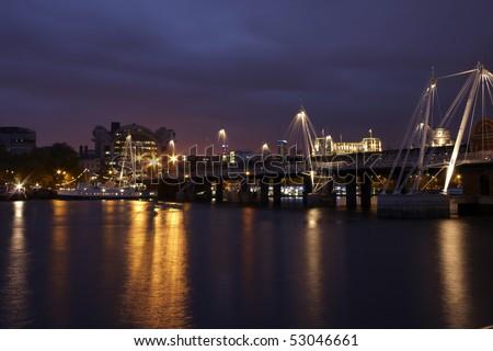Bridge view at night in london - stock photo