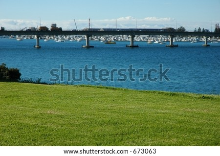 Bridge view from hill - stock photo