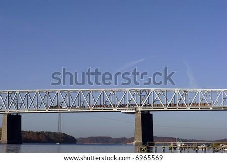 Bridge with car-train - Little Belt, Denmark - stock photo