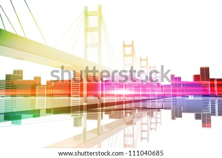 Bridge with city skyline in the background - stock photo