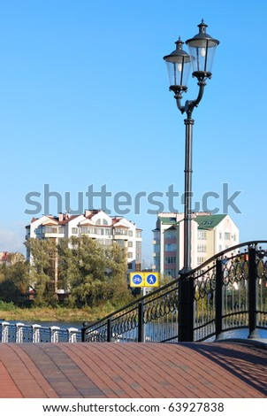 Bridge with lanterns - stock photo