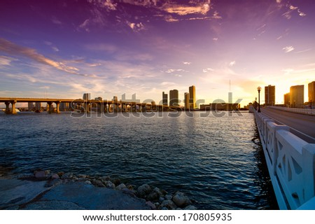 Bridge with skyscrapers in the background, Venetian Causeway, Venetian Islands, Biscayne Bay, Miami, Florida, USA - stock photo