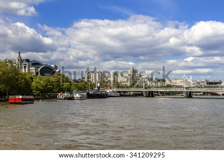 Bridges and embankments of the River Thames. London, UK.