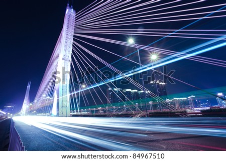 Bridges and urban night in Guangzhou, China - stock photo