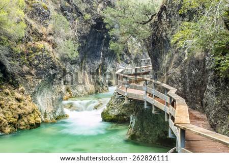 Bridges at Borosa river at the thaw in Cazorla, Jaen, Spain - stock photo