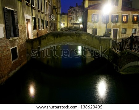 Bridges in Venice by Night - stock photo