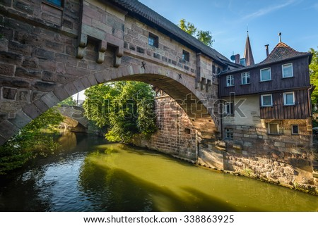Bridges of Nuremberg -Pegnitz river, Bayern, Germany - stock photo