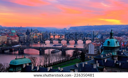 Bridges of Prague at sunset. Prague.Czech Republic - stock photo