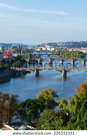 Bridges of Prague over VLtava river at summer day, Czech Republic - stock photo