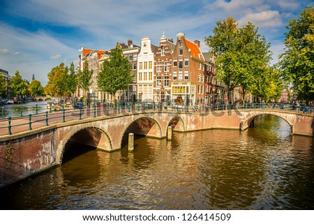 Bridges over canals in Amsterdam - stock photo
