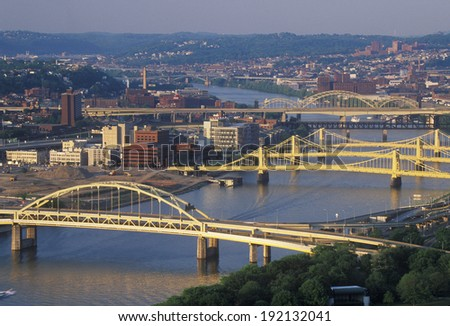 Bridges over the Allegheny River, Pittsburgh, PA - stock photo