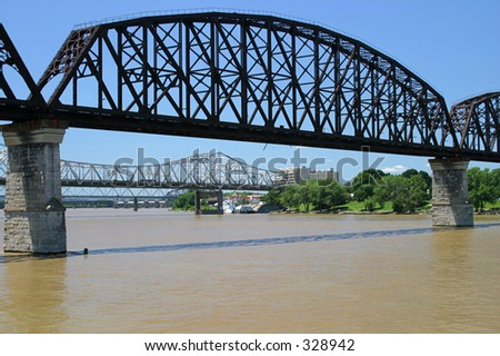 Bridges over the Ohio River from Kentucky to Indiana. - stock photo