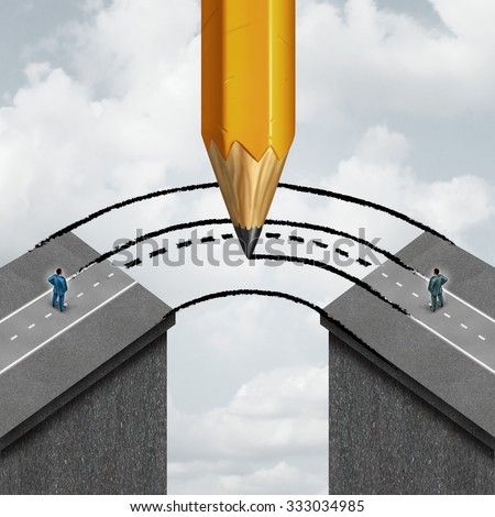 Bridging the gap business partnership concept as a giant pencil drawing a joining path to connect divided businessmen as a cooperation symbol of support to help in joining separate partners. - stock photo