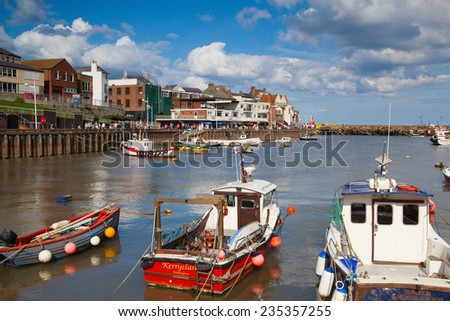 Bridlington,England-June 15,2012: Bridlington is a smallish harbour mainly catering for commercial and leisure fishing, tripper boats and a few yachts. - stock photo