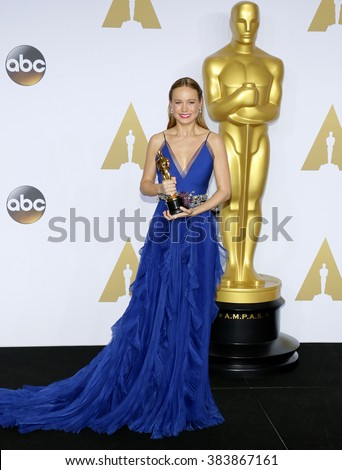 Brie Larson at the 88th Annual Academy Awards - Press Room held at the Loews Hollywood Hotel in Hollywood, USA on February 28, 2016. - stock photo