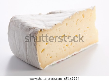 Brie of cheese on a white background. - stock photo