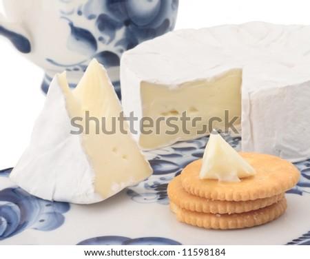 brie soft cheese breakfast cracker cut - stock photo