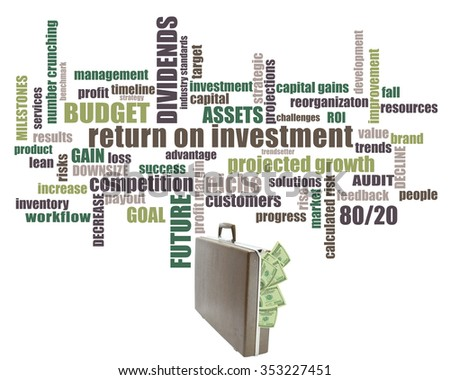 Brief case overflowing with money Return on Interest (Niche, budget, work flow, goal, assets, dividends, success, timeline, challenges, strategy, industry standards, trends, profit margin)  - stock photo