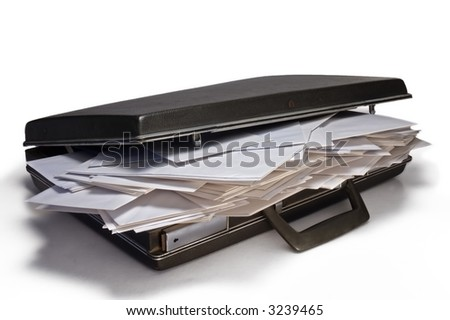 briefcase full of envelopes - stock photo