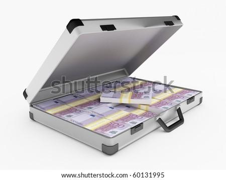 Briefcase full of 500 euro bills - stock photo