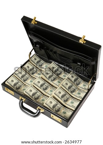 Briefcase full of One Hundred Dollar  Bills - stock photo