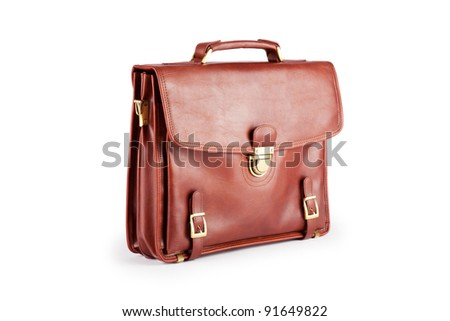 Briefcase isolated on the white - stock photo