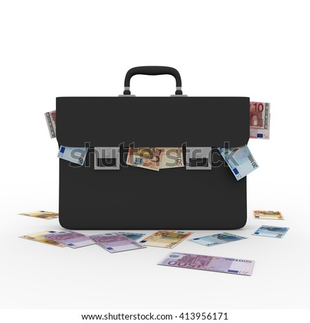 briefcase overflowing with money. Corruption and bribing concept. 3D rendering, 3d illustration - stock photo