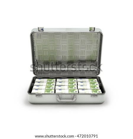 Briefcase ransom euros / 3D illustration of stacks of hundred euro notes inside metal briefcase