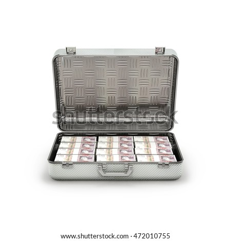 Briefcase ransom pounds / 3D illustration of stacks of fifty pound notes inside metal briefcase