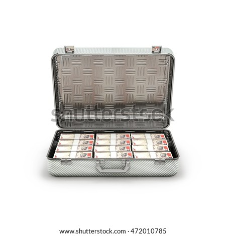 Briefcase ransom rupees / 3D illustration of stacks of thousand rupee notes inside metal briefcase
