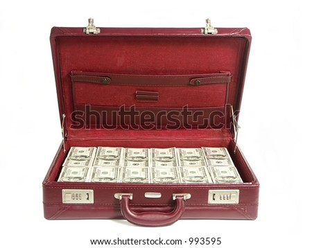 Briefcase stuffed with one hundred dollar bills over white background - stock photo