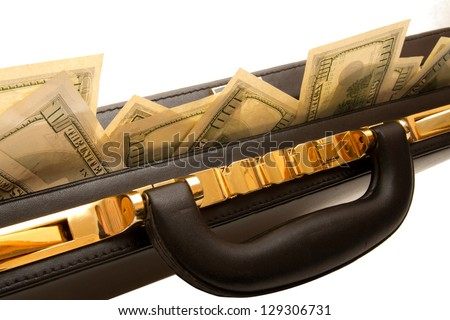 Briefcase with cash and coded lock - stock photo
