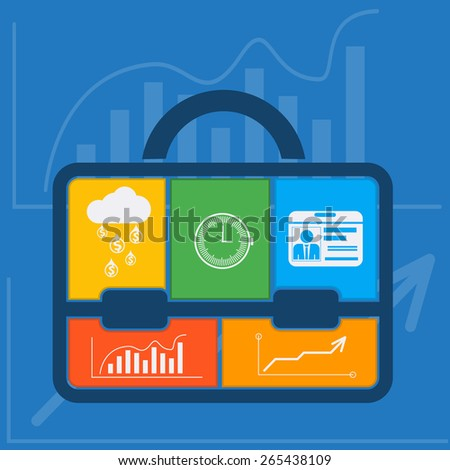 Briefcase with graph clock badge money cloud icons flat design style. Business concept. Raster version - stock photo