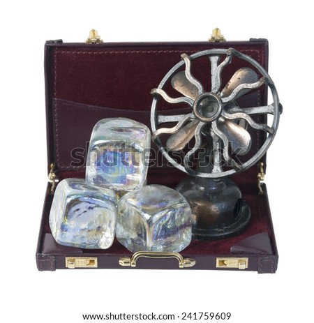 Briefcase with Ice Cubes and Fan to show business cooling off - path included - stock photo