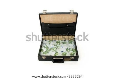 Briefcase with one hundred euros bills isolated on white - stock photo