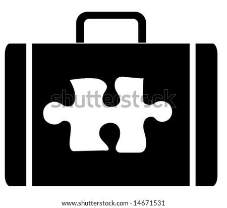 briefcase with symbol of a puzzle piece on the outside - stock photo