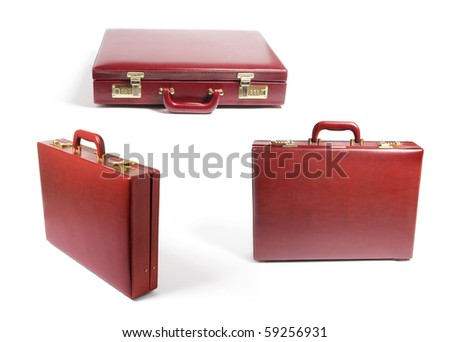 Briefcases on Isolated White Background - stock photo