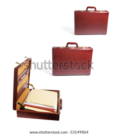 Briefcases with Files on White Background - stock photo