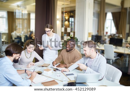 Briefing of managers - stock photo