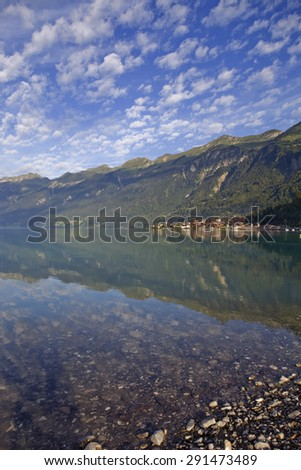 Brienz reflection at the lake in Switzerland - stock photo