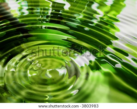 Bright abstract green water background - stock photo