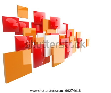 bright abstract orange and red squares with nice reflections isolated on white background