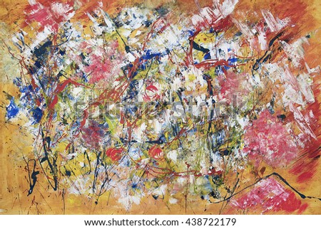Bright abstract painting, expressive,hand painted with acrylics, yellow,red,white,blue colors - stock photo