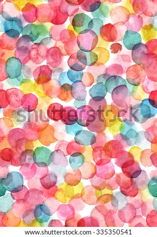 Bright abstract seamless pattern with multicolored watercolor dots - stock photo