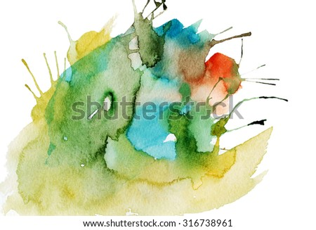 Bright abstract watercolor background,isolated - stock photo